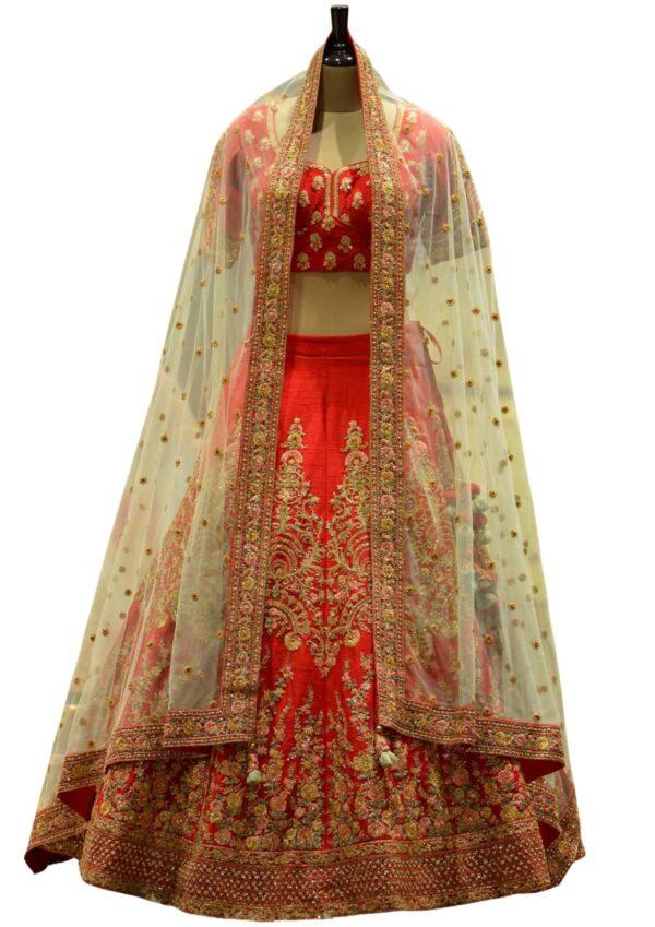 Cherry Red Resham Embroidered Raw Silk Bridal Lehenga