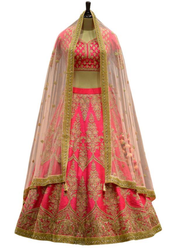 Pink Dori Embroidered Raw Silk Bridal Lehenga