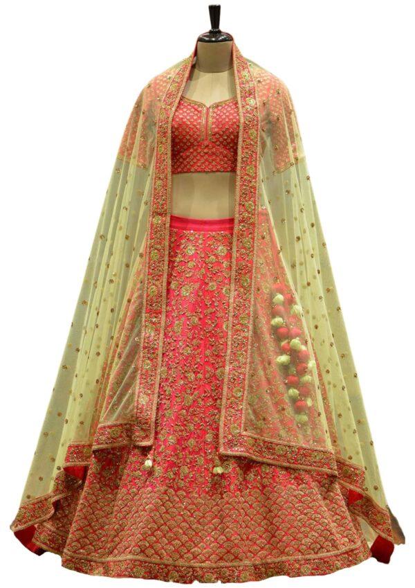 Coral Pink Raw Silk Zari Embroidered Bridal Lehenga