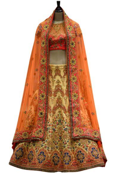 Pink & Yellow Sequins Embroidered Raw Silk Bridal Lehenga