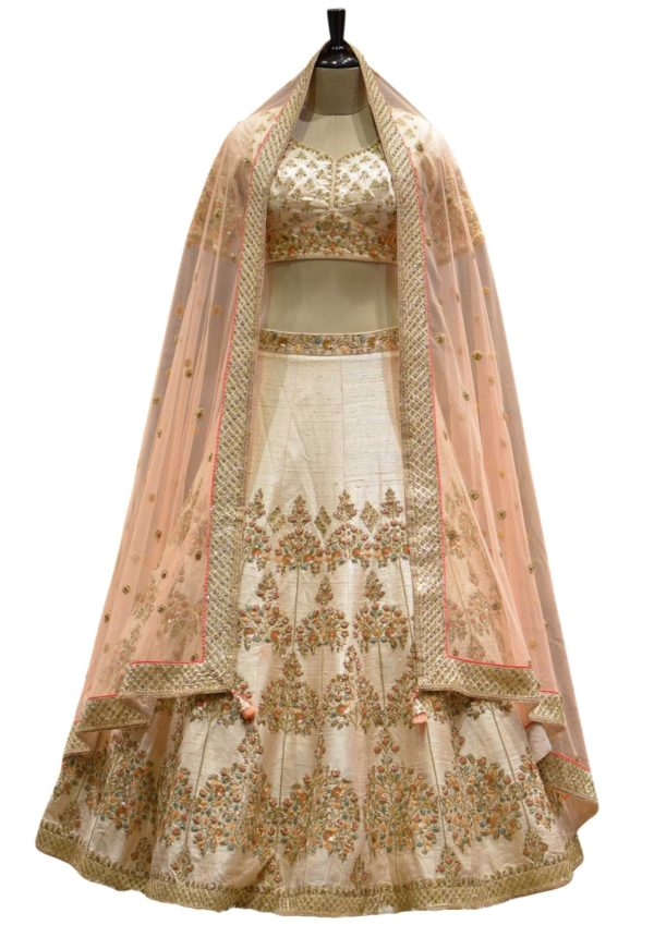 Rose Beige Zardosi Embroidered Raw Silk Bridal Lehenga