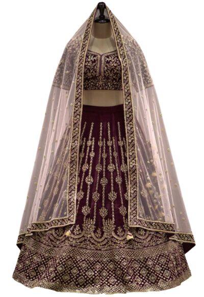 Sangria & Gold Sequins Embroidered Velvet Bridal Lehenga