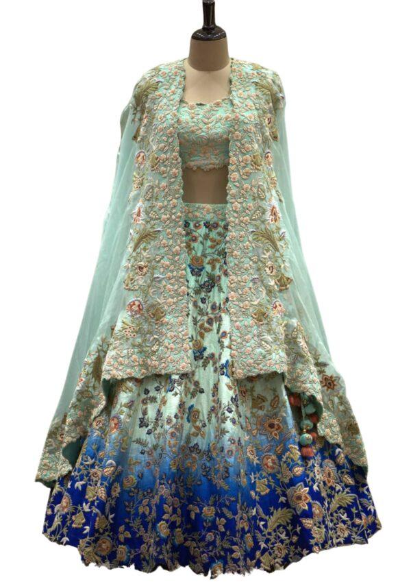 Green and Blue Thread Embroidered Raw Silk Bridal Lehenga