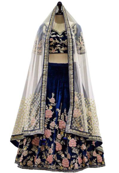 Midnight Blue Zardosi Embroidered Velvet Bridal Lehenga