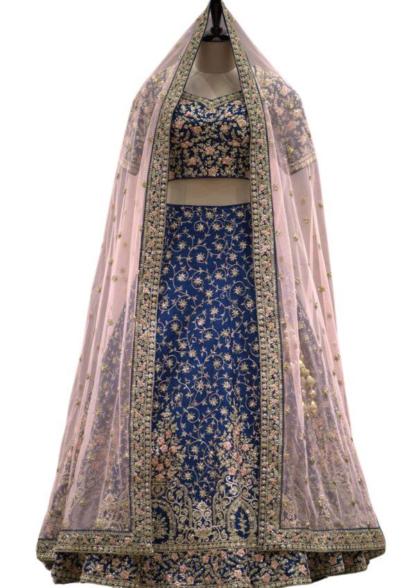 Midnight Blue Raw Silk Zari Embroidered Bridal Lehenga