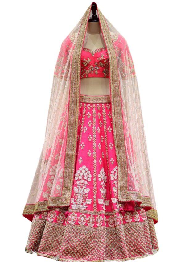 Frenchrose Pink Cutdana Raw Silk Bridal Lehenga