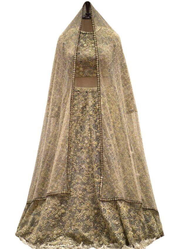 Taupe Brown Net Thread Embroidered Bridal Lehenga