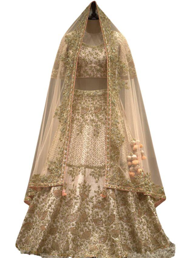 Light Beige Raw Silk Sequins Embroidered Bridal Lehenga