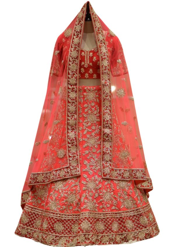 Cranberry Pink Zardosi Emroidered Raw Silk Bridal Lehenga