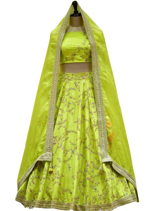 Fluorescent Green Dori Embroidered Raw Silk Bridal Lehenga