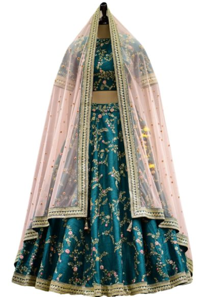 Bottle Green Dori Embroidered Raw silk Bridal Lehenga
