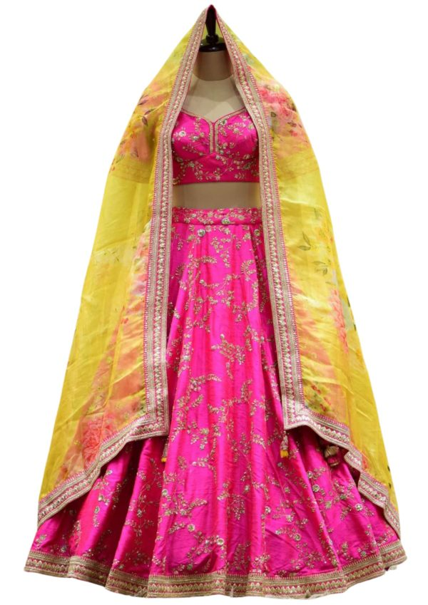 Pink & Red Dual Tone Dori Embroidered Raw silk Bridal Lehenga