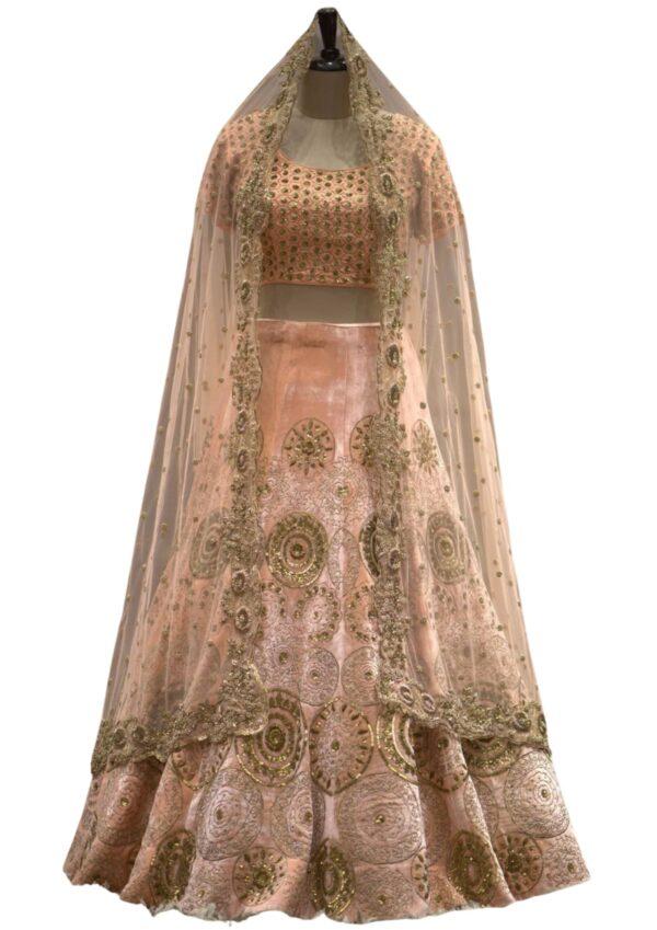 Peach Sequins Embroidered Raw Silk Bridal Lehenga