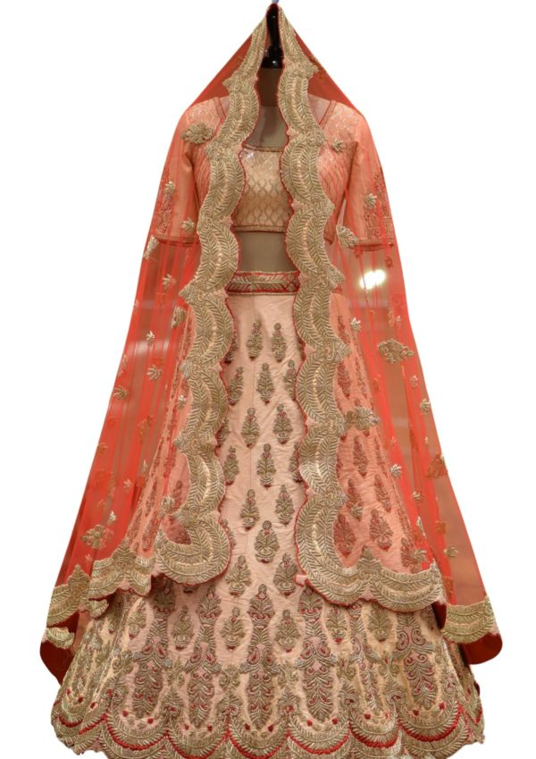 Peach Zardosi Embroidered Raw Silk Bridal Lehenga