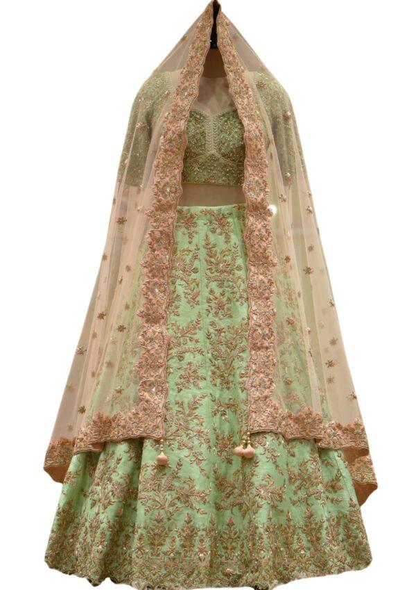 Screemin Green Zardosi Embroidered Raw silk Bridal Lehenga