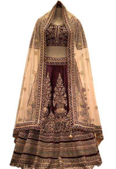 Wine Zari Embroidered Velvet Bridal Lehenga