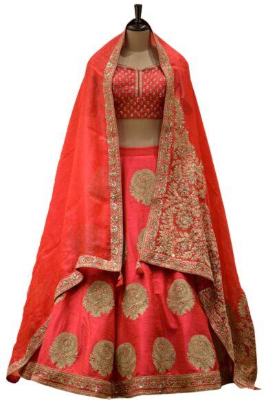 Red Dori Embroidered Raw Silk Bridal Lehenga