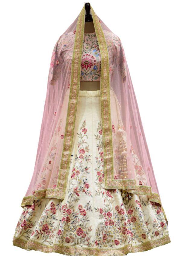 Beige Resham Embroidered Raw Silk Bridal Lehenga
