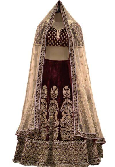Plum Red Velvet Zardosi Embroidered Bridal Lehenga