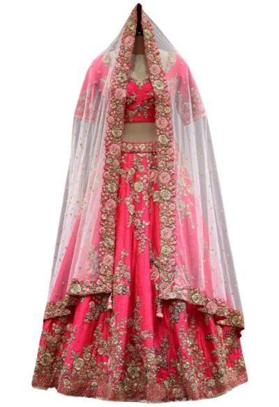 Crimson Pink Zardosi and hand Embroidered Raw Silk Bridal Lehenga