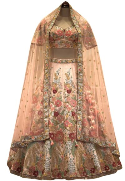 Peach Resham Embroidered Raw Silk Bridal Lehenga