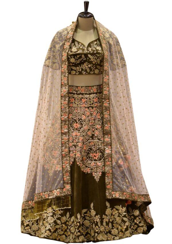 Mehendi Green Thread Embroidered Velvet Bridal Lehenga