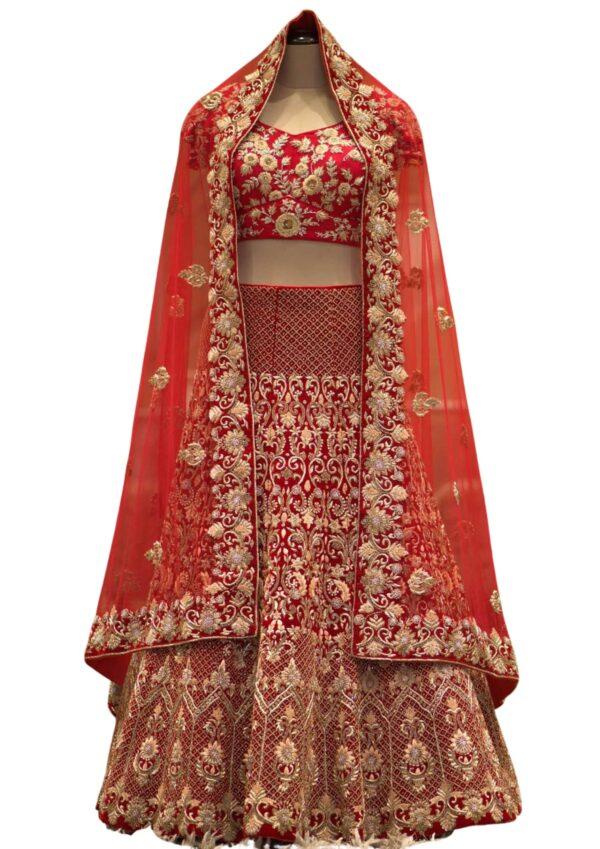 Bright Red Zardosi Embroidered Velvet Bridal Lehenga