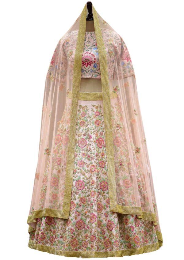 Carnation Pink Resham Embroidered Raw Silk Bridal Lehenga