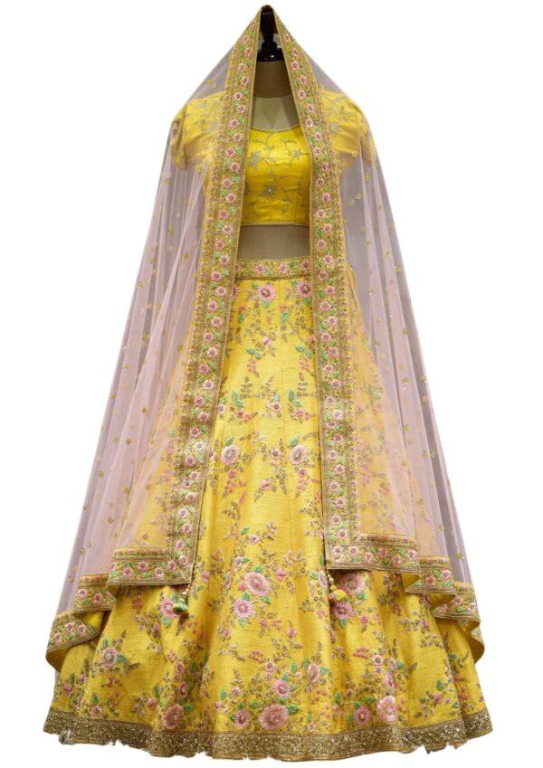 Amber Yellow Resham Embroidered Raw Silk Bridal Lehenga