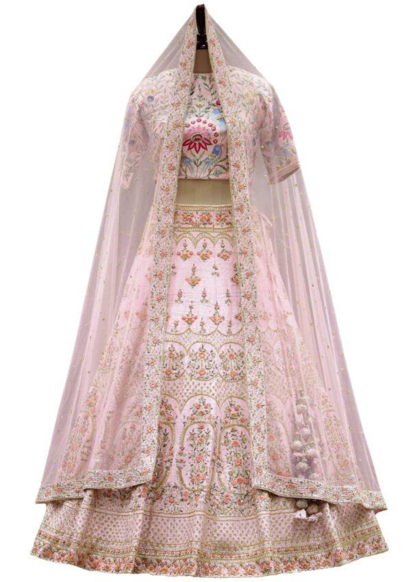 Salmon Pink Raw Silk Resham Embroidered Bridal Lehenga