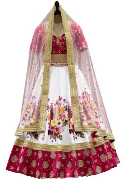 Pink & White Sequins Embroidered Raw Silk Bridal Lehenga