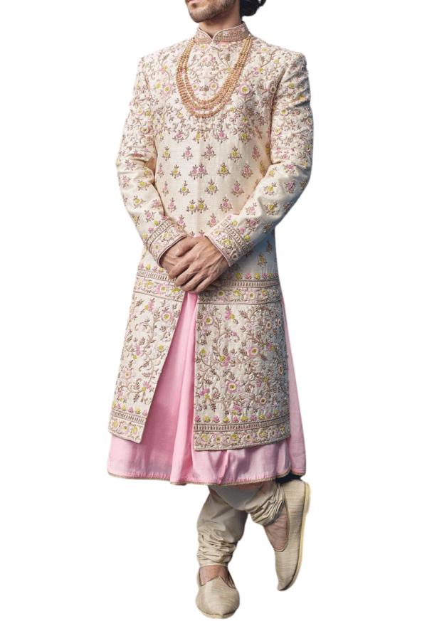Ivory and Pink Three-Layered Royal Sherwani