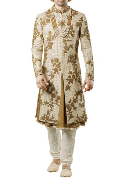 Bespoke Three-Layer Wedding Sherwani in Beige Raw Silk