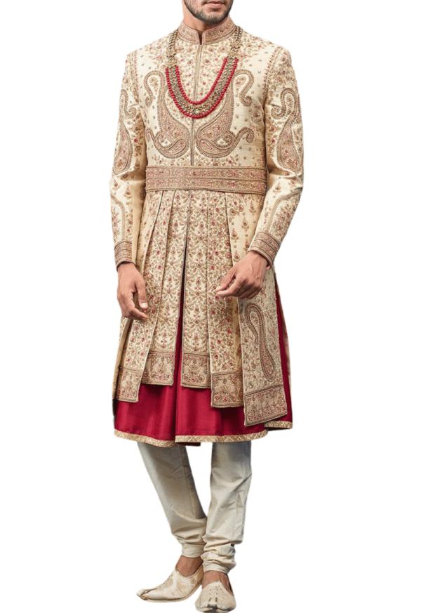 Vintage Three-Layer Wedding Sherwani