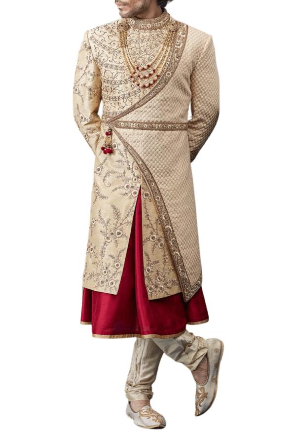 Bespoke Three-Layer Royal Wedding Sherwani