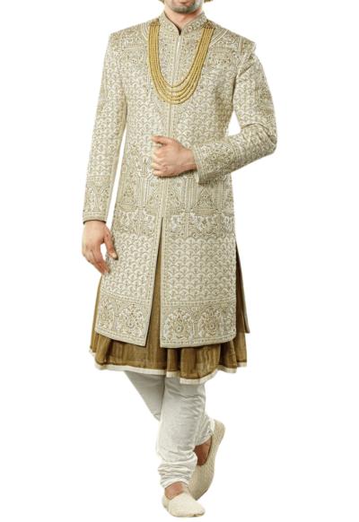 Regal Three-Layer Wedding Sherwani in Ivory and Taupe