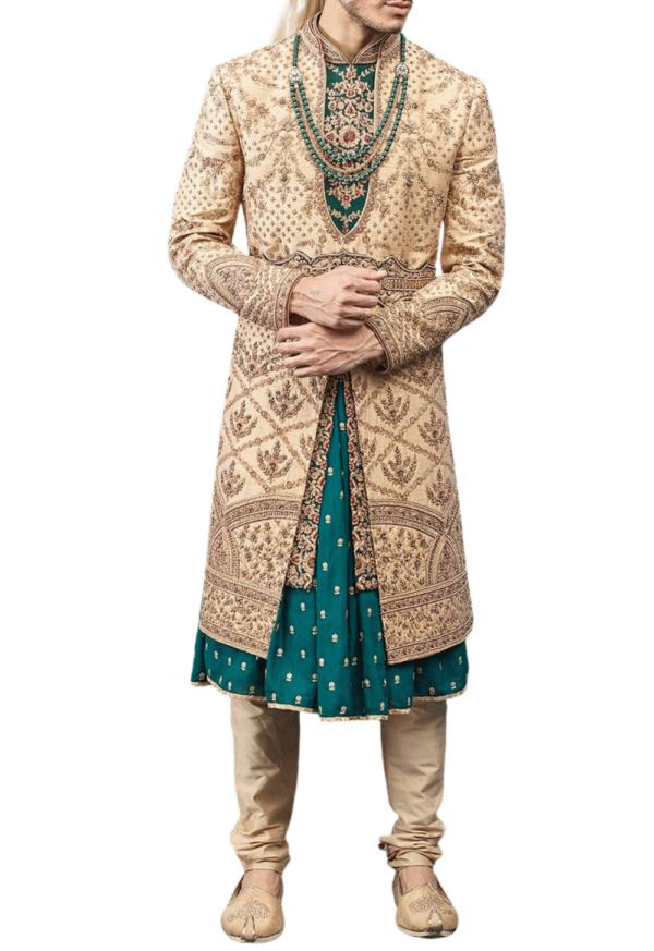 Beige and Green Three-Layer Wedding Sherwani