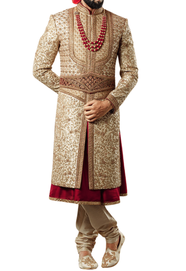 Heavily Embellished Gold and Maroon Three-Layer Wedding Sherwani