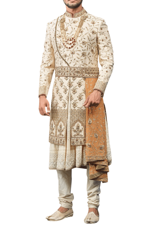 Royal Three-Layer White and Gold Wedding Sherwani