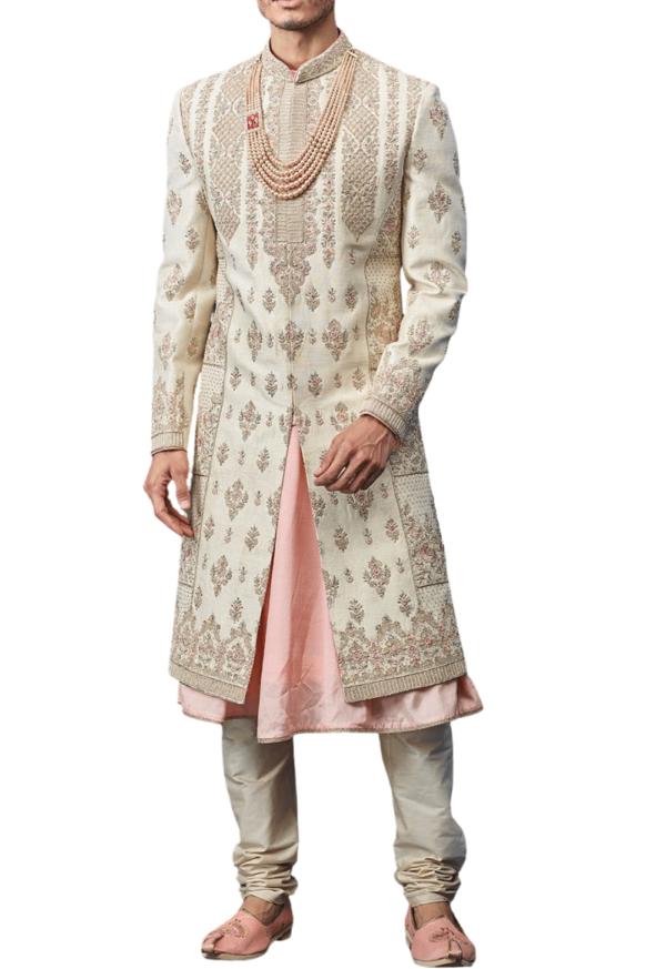 Off-white and Peach Three-Layer Royal Wedding Sherwani