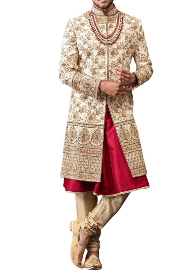 Off-white and Red Embellished Three-layer Wedding Sherwani