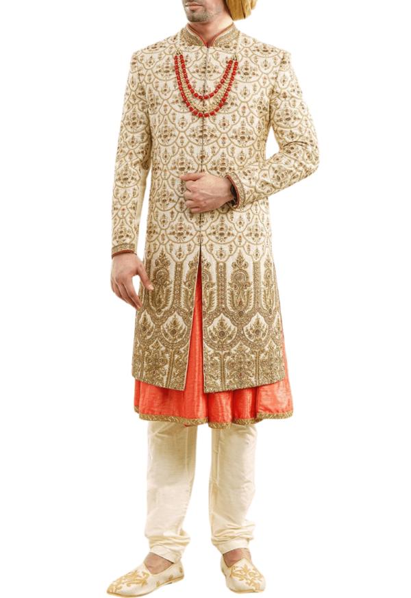 Light Beige and Peach Three-Layer Wedding Sherwani